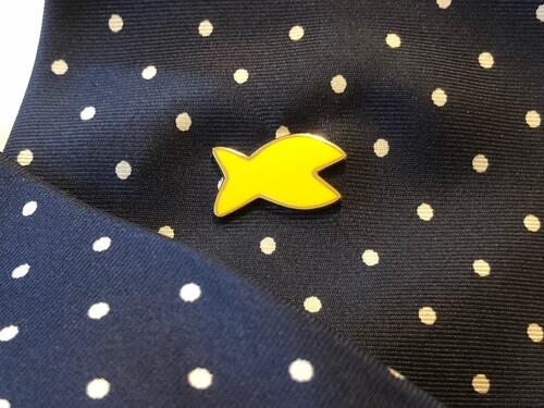 FISH! lapel pin. Small, dazzling and visible. Give it to the employee that must be recognized for being there, for making their day, for being good at choosing his attitude.